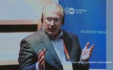 """""""I hope that western societies and the tech companies such as facebook will find a solution to the problem of fake news."""" – Mikhail Khodorkovsky. MICHELLE EICKMEIER/ SUNGUNEWS"""
