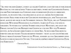 Gedenkworte zur Weißen Rose des damaligen Bundespräsidenten Theodor Heuss, 1953